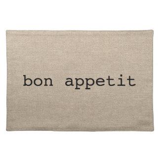 Bon Appetit French faux linen burlap rustic chic Placemat