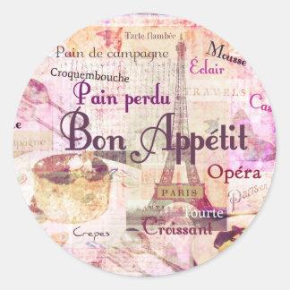 Bon Appétit French food words KITCHEN  art decor Classic Round Sticker