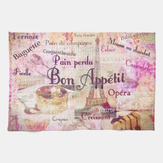Bon Appétit French food words KITCHEN  art decor Kitchen Towel