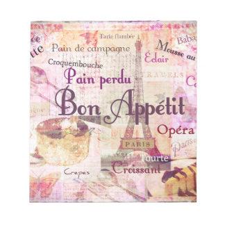 Bon Appétit French food words KITCHEN  art decor Notepad