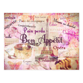 Bon Appétit French food words KITCHEN  art decor Postcard