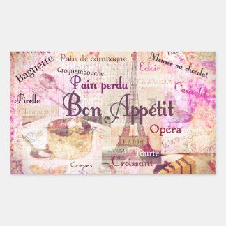Bon Appétit French food words KITCHEN  art decor Rectangular Sticker
