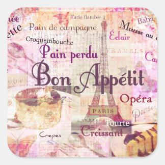Bon Appétit French food words KITCHEN  art decor Square Sticker