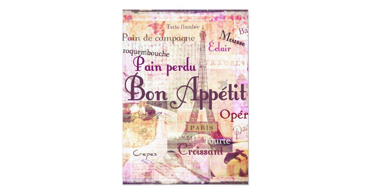 Bon Appetit French Style Food Words Paris Theme Card Zazzle