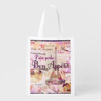 Bon Appetit French Style food words Paris theme Grocery Bag