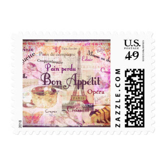 Bon Appetit French Style food words Paris theme Postage Stamp