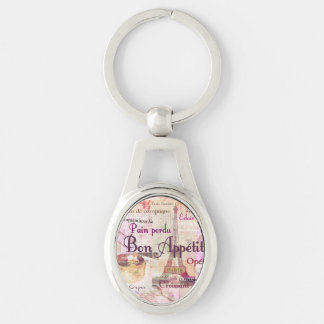 Bon Appetit French Style food words Paris theme Silver-Colored Oval Metal Keychain