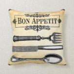 Bon Appetit French Table Setting Decorative Pillow