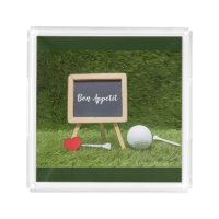 Bon Appétit golf ball with tee and red heart Acrylic Tray