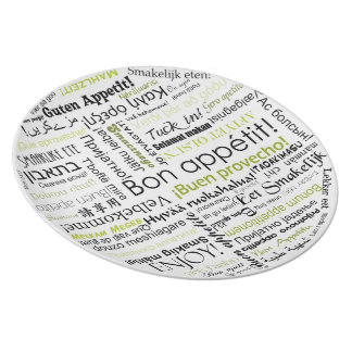 Bon appetit in different language typography Green Dinner Plate
