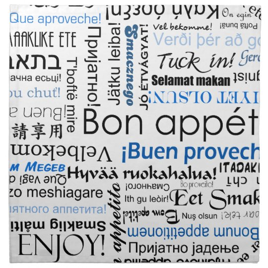 Bon appetit in different languages - blue cloth napkin