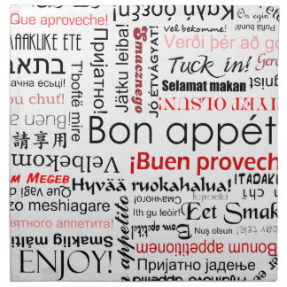 Bon appetit in different languages - red cloth napkin