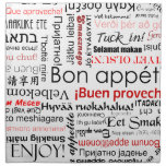 Bon appetit in different languages - red napkins