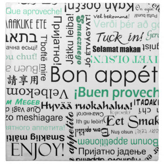 Bon appetit in different languages turquoise teal cloth napkin