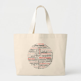 Bon appetit in many different languages typography canvas bags
