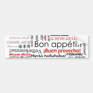 Bon appetit in many different languages typography car bumper sticker