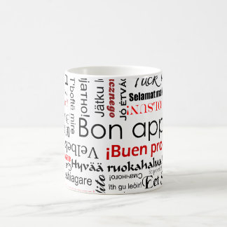 Bon appetit in many different languages typography coffee mug