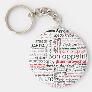 Bon appetit in many different languages typography keychain