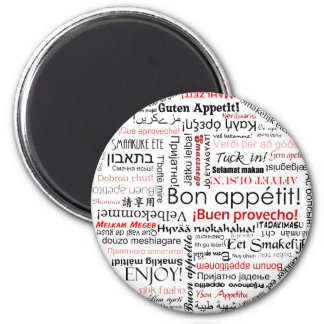 Bon appetit in many different languages typography magnet
