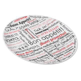Bon appetit in many different languages typography melamine plate