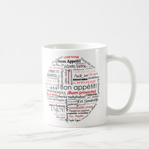 Bon appetit in many different languages typography mugs