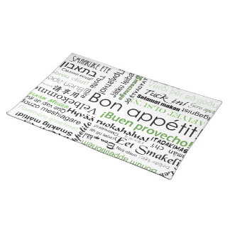 Bon appetit in many languages - green cloth placemat