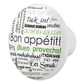 Bon appetit in many languages - green Kitchen Ceramic Knob