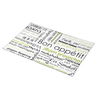 Bon appetit in many languages - olive green cloth placemat