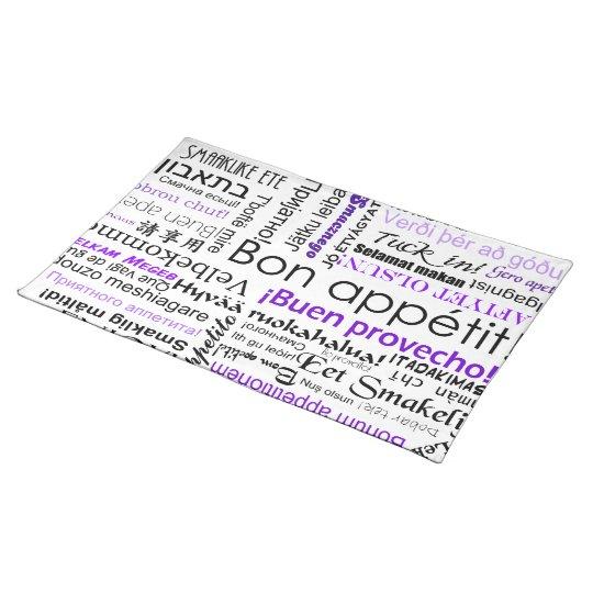 Bon appetit in many languages - purple placemat