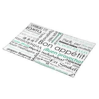 Bon appetit in many languages - turquoise teal cloth placemat