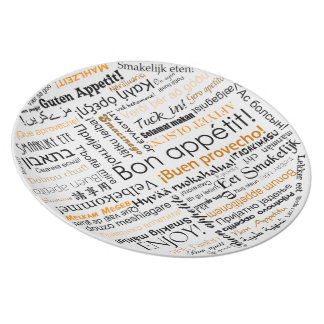 Bon appetit in many languages typography - Orange Plate