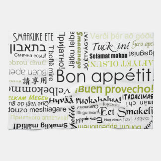 Bon appetit in other languages - olive green hand towel