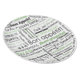 Bon appetit in other languages typography Green Dinner Plate