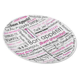 Bon appetit in other languages typography in Pink Dinner Plate