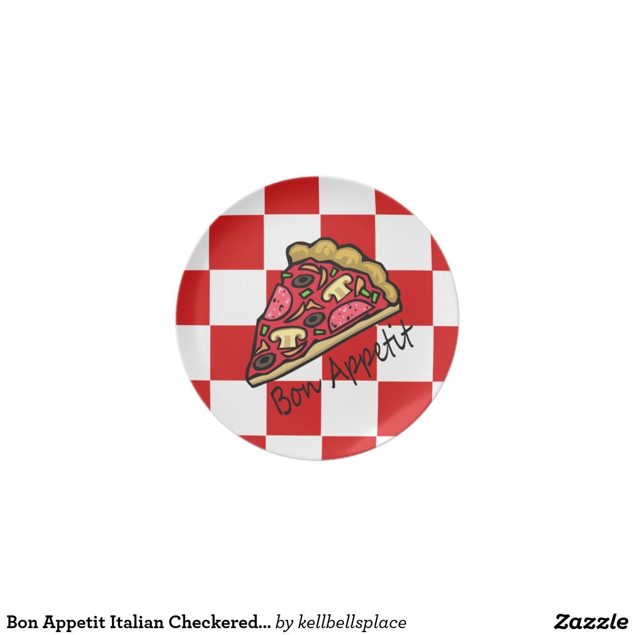 bon appetit italian checkered tablecloth pizza plates zazzle. Black Bedroom Furniture Sets. Home Design Ideas
