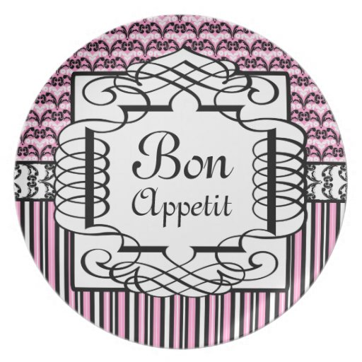 Bon Appetit Pink and Black French Damask Party Plates