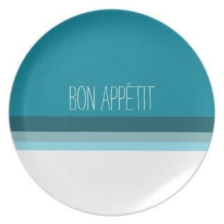 Bon appétit, turquoise lines decorative plate. platos de comidas