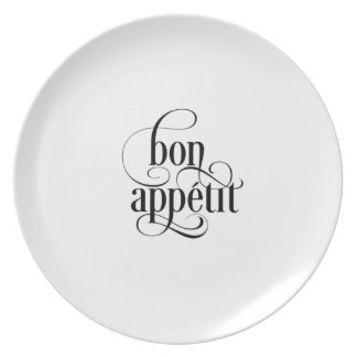 Bon Appetit Typography Melamine Plate
