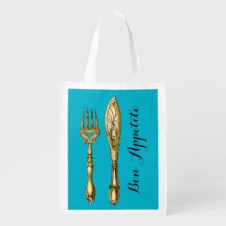 Bon appetite knife fork businesses grocery bag