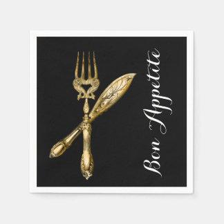 Bon appetite knife fork businesses paper napkin