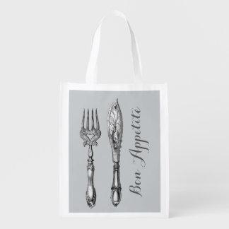 Bon appetite knife fork businesses reusable grocery bag