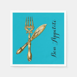Bon appetite knife fork businesses standard cocktail napkin