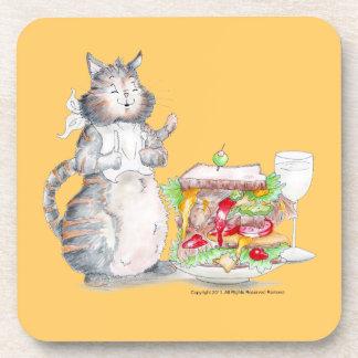 Bon Appitet Cat Cork Coaster