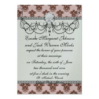bon bon pink and brown damask pattern card