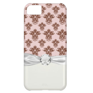 bon bon pink and brown damask pattern case for iPhone 5C