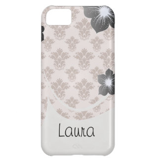 bon bon pink and brown damask pattern iPhone 5C case