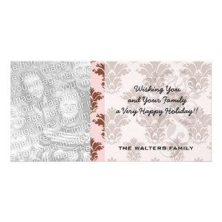 bon bon pink and brown damask pattern photo card