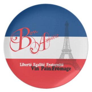 Bon francés Appetit de la bandera Platos Para Fiestas