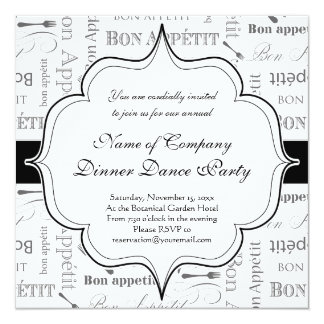 """Bon francés Appetit del vintage blanco y negro Invitación 5.25"""" X 5.25"""""""