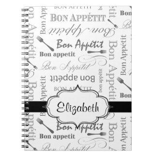Bon francés Appetit del vintage blanco y negro Note Book